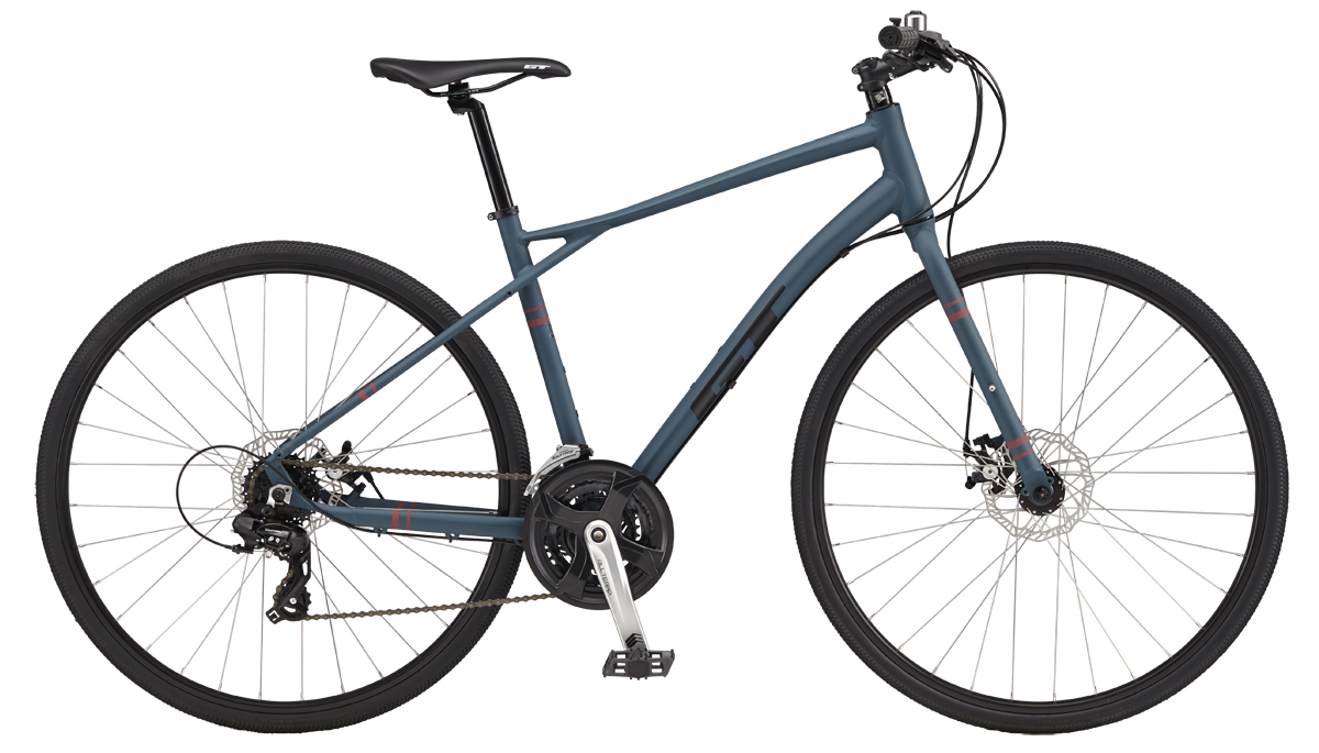 GT Bicycles 2017 GT TRAFFIC 3.0, STEEL BLUE/REFLECTIVE DEEP RED XS